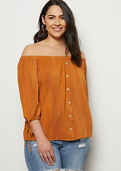 Plus Orange Washed Off The Shoulder Tie Sleeve Top