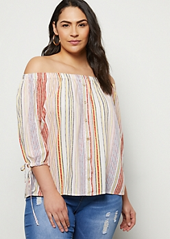 Plus Yellow Striped Off The Shoulder Tie Sleeve Top