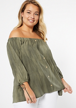 Plus Olive Washed Off The Shoulder Tie Sleeve Top