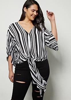 Plus Black Striped Tie Front Dolman Sleeve Blouse