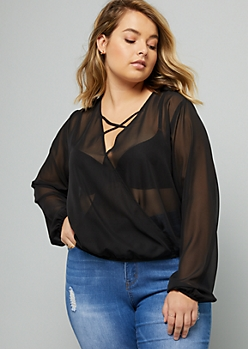 Plus Black Sheer Crisscross Surplice Top