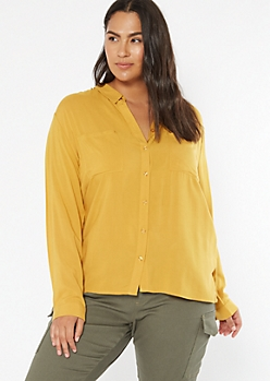 Plus Mustard Button Down Collared Shirt