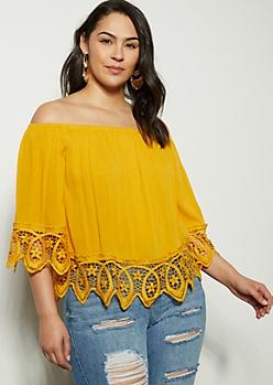 Plus Mustard Crochet Trim Off The Shoulder Blouse