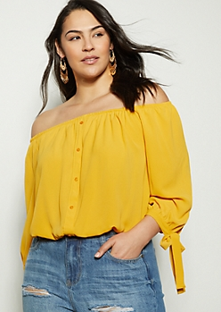 Plus Mustard Button Down Tie Sleeve Blouse