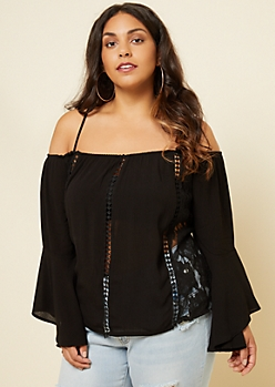 Plus Black Crochet Lace Cold Shoulder Top