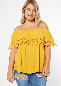Plus Mustard Crochet Flounce Off The Shoulder Top