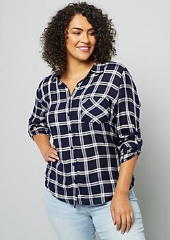 Plus Navy Plaid Print Crochet Shirt