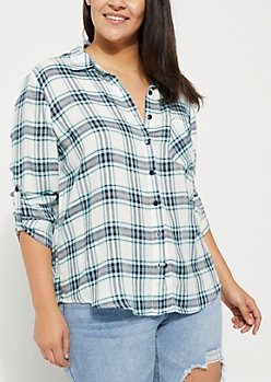 Plus White Plaid Print Crochet Shirt