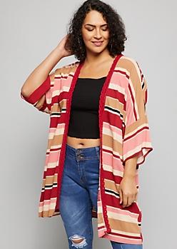 Plus Burgundy Striped Crochet Trim Kimono