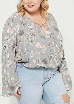 Plus Gray Floral Print Woven Bell Sleeve Blouse