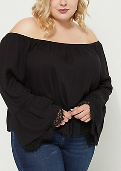 Plus Black Off Shoulder Double Lace Ruffle Top