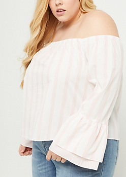 Plus Pink Stripe Off Shoulder Double Ruffle Top