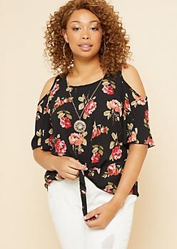 Plus Black Floral Print Tie Front Necklace Top