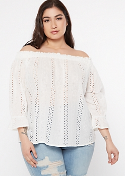 Plus White Eyelet Off The Shoulder Top
