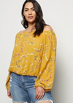 Plus Mustard Floral Print Off The Shoulder Button Down Top