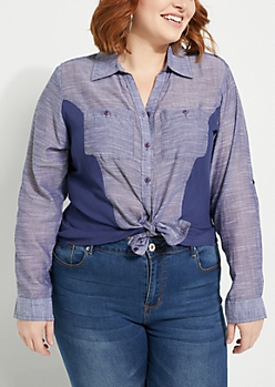 Plus Blue Ribbed Knit Button Down Shirt