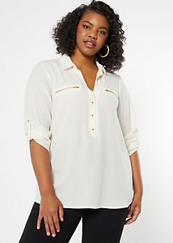 Plus Ivory Zip Pocket Button V Neck Blouse