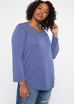 Plus Blue Mesh Neck Tabbed Sleeve Top
