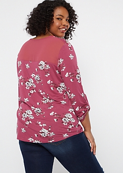 Plus Pink Floral Print Button Shoulder Top