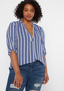 Plus Blue Striped High Low Chiffon Top