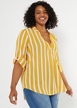 Plus Mustard Striped V Neck Shirt