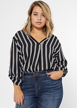Plus Black Striped High Low Chiffon Top