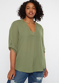Plus Olive High Low Chiffon Top