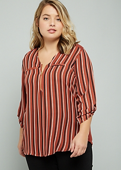 Plus Burnt Orange Striped Half Zip Blouse