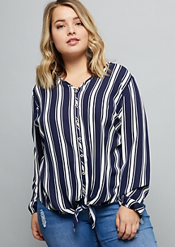 Plus Navy Striped Chiffon Tie Front Top