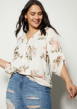 Plus White Floral Print Zip Front Roll Tab Blouse