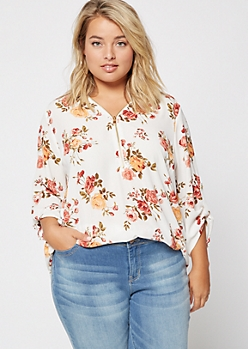 Plus Ivory Floral Print Zip Front Roll Tab Blouse