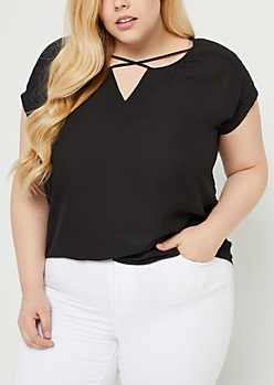 Plus Black Cross Strap Rolled Sleeve Blouse