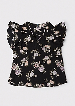 Plus Floral Print Flutter Sleeve Top