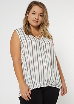 Plus White Striped Strappy Surplice Blouse