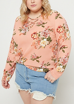 Plus Salmon Floral Long Sleeve Lattice Blouse