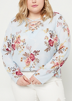 Plus Blue Floral Long Sleeve Lattice Blouse