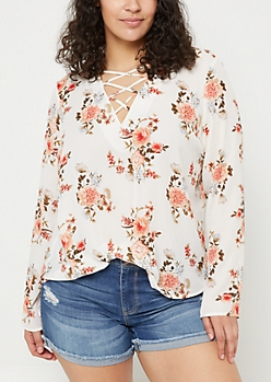 Plus Ivory Floral Long Sleeve Lattice Blouse