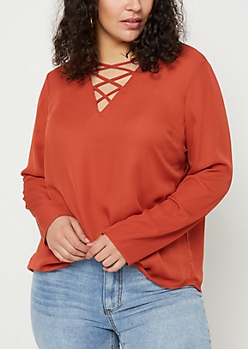 Plus Burnt Orange Long Sleeve Lattice Blouse