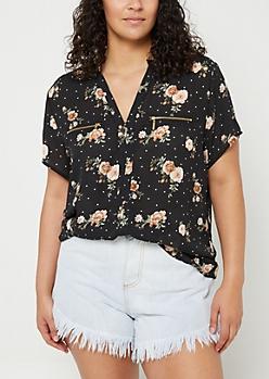 Plus Black Dotted Floral Print Double Zip Blouse