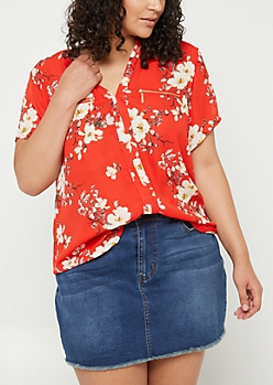 Plus Red Floral Print Double Zip Blouse