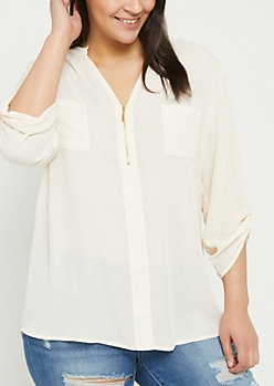 Plus Ivory Sheer Quarter Zip Blouse