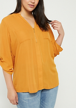 Plus Camel Sheer Quarter Zip Blouse