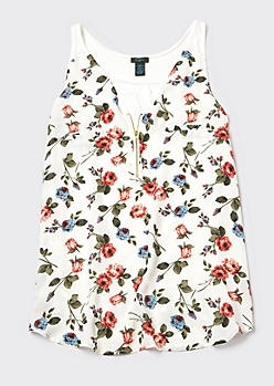 Plus Ivory Floral Print Zip Front Tank Top