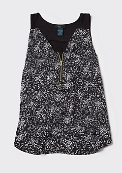 Plus Black Floral Print Zip Front Tank Top