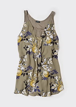 Plus Olive Floral Print Zip Front Tank Top