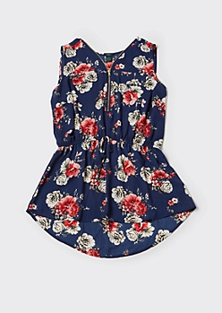 Plus Navy Floral Print Sleeveless Zip Front Blouse