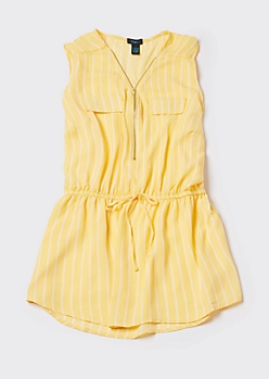 Plus Yellow Striped Sleeveless Zip Front Blouse