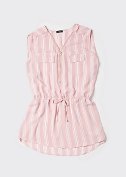 Plus Pink Striped Sleeveless Zip Front Blouse