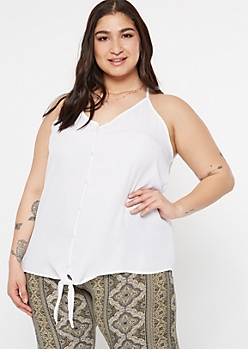 Plus White Woven Tie Front Tank Top