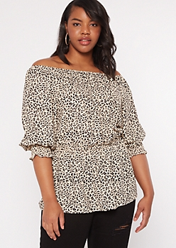 Plus Animal Print Smock Waist Top